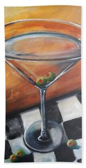 Martini On Checkered Tablecloth Beach Towel