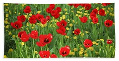 Meadow With Tulips Beach Towel