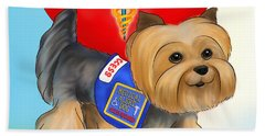 Beach Towel featuring the mixed media Medical Alert Yorkie by Catia Lee