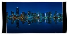 Beach Sheet featuring the photograph Miami Skyline Night Panorama by Carsten Reisinger
