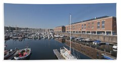 Beach Towel featuring the photograph Milford Haven Marina 3 by Steve Purnell