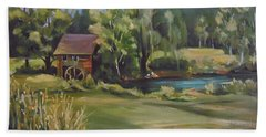 Beach Towel featuring the painting Mill By The Stream by Nancy Griswold