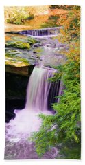 Beach Towel featuring the painting Mill Creek Waterfall by Michelle Joseph-Long
