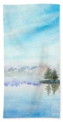 Misty Lake Beach Towel by Yoshiko Mishina