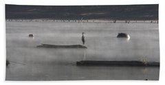 Misty Morning At Lake Wilhelmina Beach Towel