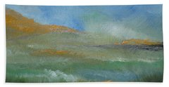 Beach Towel featuring the painting Misty Morning by Judith Rhue