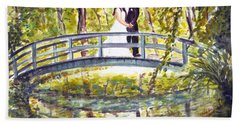 Beach Sheet featuring the painting Monet Wedding by Clara Sue Beym