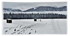 Beach Towel featuring the photograph Montana Ice Fishing by Janie Johnson