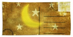 Moon And Star Postcard Beach Towel