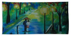 Beach Towel featuring the painting Moonlight Stroll Series 1 by Leslie Allen
