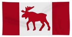 Moose Emblem On Canadian Flag Beach Towel