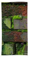 Beach Sheet featuring the digital art Mossy Brick Wall by Carol Ailles