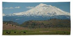 Mount Shasta Beach Sheet by Carol Ailles