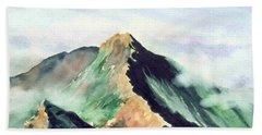 Beach Sheet featuring the painting Mountain  1 by Yoshiko Mishina