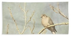 Mourning Dove In Winter Beach Towel