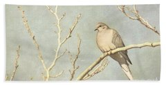Mourning Dove In Winter Beach Sheet
