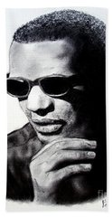 Beach Towel featuring the painting Music Legend Ray Charles by Jim Fitzpatrick