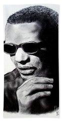 Music Legend Ray Charles Beach Sheet by Jim Fitzpatrick