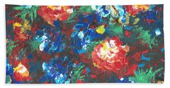 Beach Towel featuring the painting My Sister's Garden II by Alys Caviness-Gober