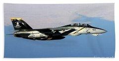 N F-14b Tomcat Flies Over Iraq Beach Towel