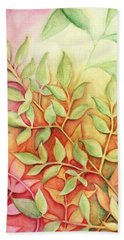 Beach Towel featuring the painting Nandina Leaves by Carla Parris