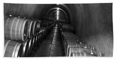Napa Wine Barrels In Cellar Beach Towel