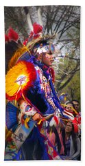 Native American Dancer One Beach Towel by Nancy Griswold