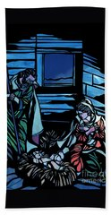 Nativity Stained Glass Beach Sheet by Methune Hively