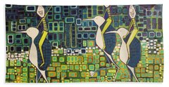 Beach Towel featuring the painting New Moon Penguin Races by Donna Howard