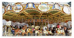 Beach Towel featuring the photograph New York Carousel by Alice Gipson