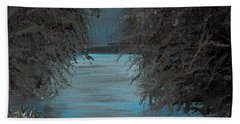 Beach Towel featuring the painting Night In The Bayou by Alys Caviness-Gober