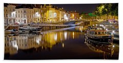 Nighttime Along The River Leie Beach Towel
