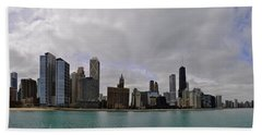 Beach Towel featuring the photograph North Of Navy Pier From The Series Chicago Skyline by Verana Stark