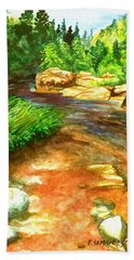 Oak Creek Red Beach Towel by Eric Samuelson