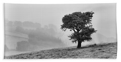 Oak Tree In The Mist. Beach Sheet by Clare Bambers