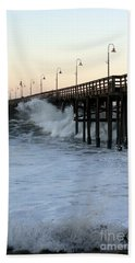 Ocean Wave Storm Pier Beach Towel