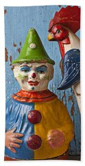 Old Clown And Roster Beach Towel