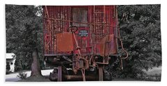 Old Red Train Beach Towel