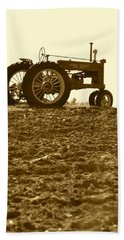Old Tractor I In Sepia Beach Towel