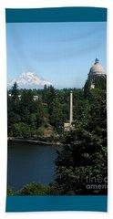 Olympia Wa Capitol And Mt Rainier Beach Towel