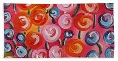 Original Modern Impasto Flowers Painting  Beach Sheet