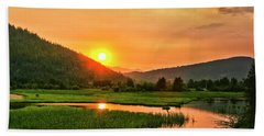 Beach Towel featuring the photograph Pack River Delta Sunset by Albert Seger