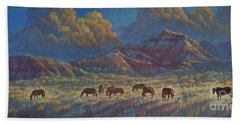 Beach Towel featuring the painting Painted Desert Painted Horses by Rob Corsetti