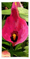 Beach Towel featuring the photograph Painted Pink Cala Lily by Debbie Portwood