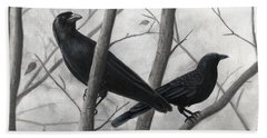 Pair Of Crows Beach Towel