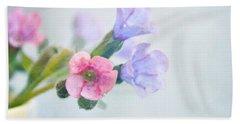Pale Pink And Purple Pulmonaria Flowers Beach Towel by Lyn Randle