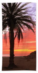 Palm Tree And Dawn Sky Beach Sheet