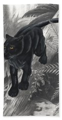 Panther By The Water Beach Towel