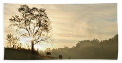 Pasture Sunrise Beach Towel by JD Grimes