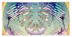 Beach Towel featuring the painting Patriotic Reflections by Mario Carini